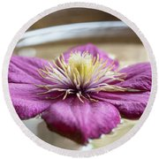Peaceful Clematis Round Beach Towel
