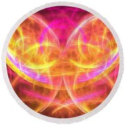 Magenta Moth Round Beach Towel