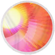 Magenta Orange Sunshine Round Beach Towel
