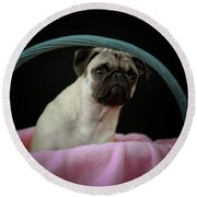Maggie In A Basket Round Beach Towel