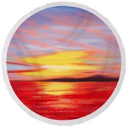 Magic At Sunset Round Beach Towel