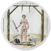 Magic Circle Ritual, 18th Century Round Beach Towel