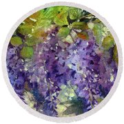Magic In Purples And Greens Round Beach Towel