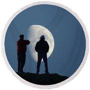 Magic Landscapes 2 -- Moon Men Round Beach Towel