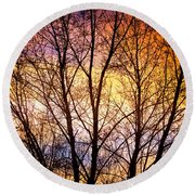 Magical Colorful Sunset Tree Silhouette Round Beach Towel