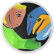 Magical Encounter Between A Boy And Creatures Of The Sea Round Beach Towel