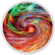 Magical Energy Round Beach Towel by Linda Sannuti