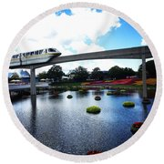 Magical Monorail Ride Round Beach Towel