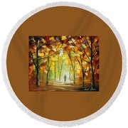 Magical Park Round Beach Towel by Leonid Afremov