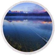 Magical Sunrise Along Sawtooth Mountain Range Stanley Idaho Round Beach Towel