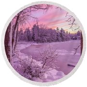 Magical Sunset After Snow Storm 1 Round Beach Towel