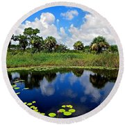 Magical Water Lily Pond 2 Round Beach Towel