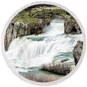 Magnificence Of Shoshone Falls Round Beach Towel
