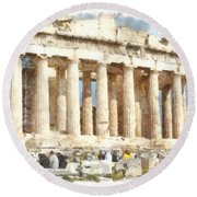 Magnificent Acropolis In Athens Round Beach Towel