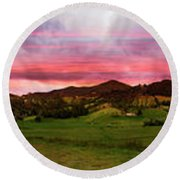 Magnificent Andes Valley Panorama Round Beach Towel