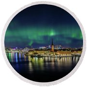 Magnificent Aurora Dancing Over Stockholm Round Beach Towel