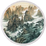 Magnificent Mount Huangshan Round Beach Towel
