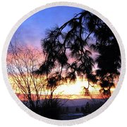 Magnificent Winter Sky Round Beach Towel