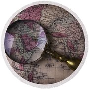 Magnifying  Glass On Old Map Round Beach Towel