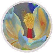 Magnolia Abstract Round Beach Towel