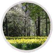 Magnolia And Daffodils Round Beach Towel