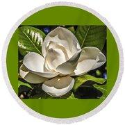 Magnolia Blossom 4 Round Beach Towel