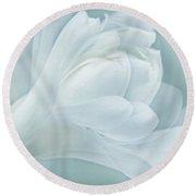 Softness Of A Aqua Blue Magnolia Flower Round Beach Towel