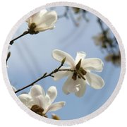 Magnolia Flowers White Magnolia Tree Spring Flowers Artwork Blue Sky Round Beach Towel