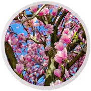 Magnolia Tree Beauty #3 Round Beach Towel