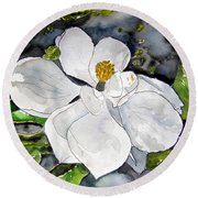 Magnolia Tree Flower Round Beach Towel