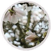 Magnolia Tree Flowers Pink White Magnolia Flowers Spring Artwork Round Beach Towel