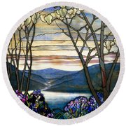 Magnolias And Irises Round Beach Towel