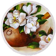 Magnolias In A Clay Pot Round Beach Towel