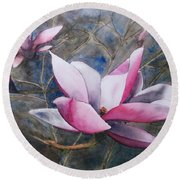 Magnolias In Shadow Round Beach Towel