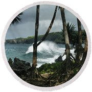 Mahama Lauhala Keanae Peninsula Maui Hawaii Round Beach Towel