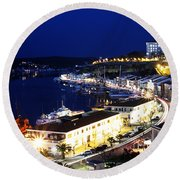 Mahon Harbour At Night Round Beach Towel