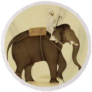 Mahout Riding An Elephant Painting - 18th Century Round Beach Towel