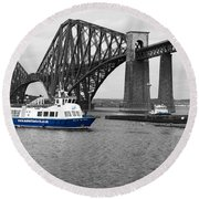 Maid Of The Forth In Blue. Round Beach Towel