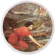 Maidens Picking Flowers By The Stream Round Beach Towel