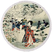 Maids In A Snow Covered Garden Round Beach Towel