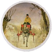 Mail Cart Christmas Round Beach Towel