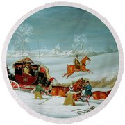 Mail Coach In The Snow Round Beach Towel