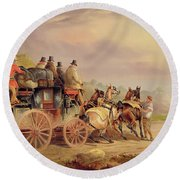 Mail Coaches On The Road - The 'quicksilver'  Round Beach Towel
