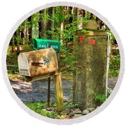 Mailbox On The Rural Country Road Round Beach Towel