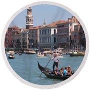 Main Canal Venice Italy Round Beach Towel