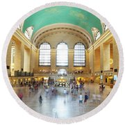 Main Hall Grand Central Terminal, New York Round Beach Towel