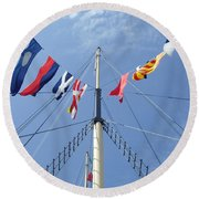 Main Mast Of Ss Great Britain At Bristol England Round Beach Towel