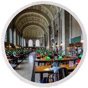 Main Reading Room Of Boston Public Library Round Beach Towel