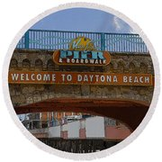 Main Street Pier And Boardwalk Round Beach Towel by David Lee Thompson