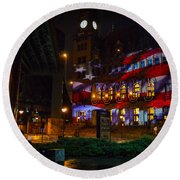 Main Street Station At Night Round Beach Towel